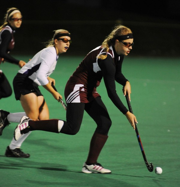 Foxcroft Academy's Julia Annis charges toward the goal with the ball against John Bapst at the University of Maine on Monday night.