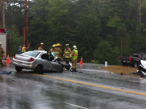 At least three people required hospitalization for injuries suffered in a three-vehicle crash in Durham on Thursday afternoon.