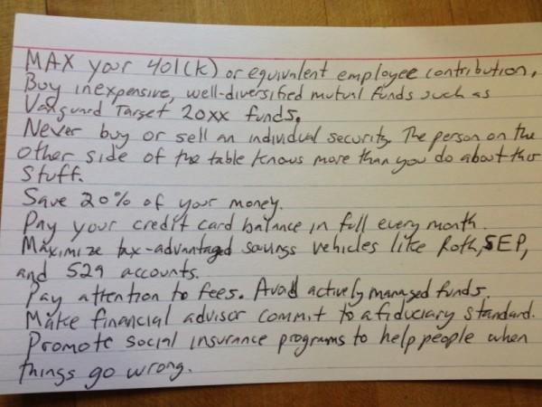Harold Pollack''s 4X6 index card has all the investment advice you''ll ever need.