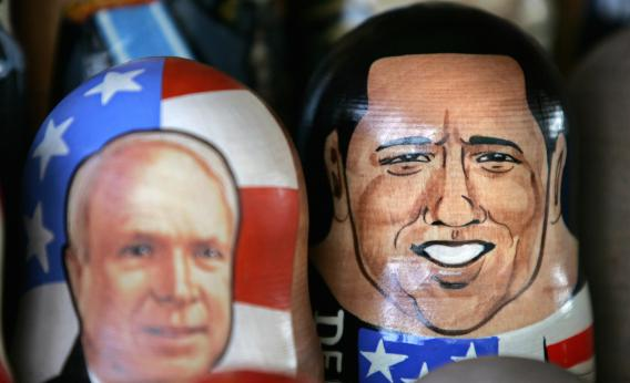 Traditional Russian wooden dolls featuring Barack Obama and John McCain are displayed for sale in central Moscow on Nov. 5, 2008.