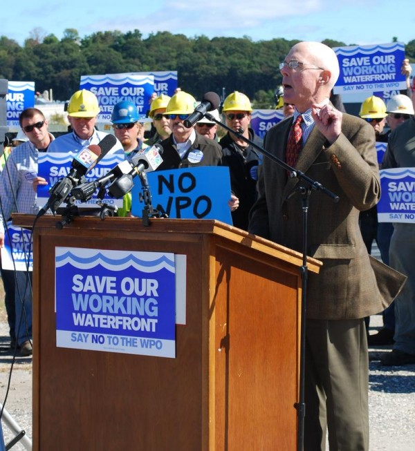 Charles Lawton, chief economist at Portland-based Planning Decisions, presents his report on the potential effect of a proposed Waterfront Protection Ordinance in South Portland on Monday morning. Lawton, speaking at Sprague Energy in South Portland, estimated 5,600 jobs with earnings of $252 million could be lost over 10 years if the ordinance passes.