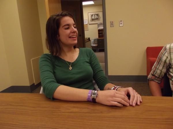 Katie Barvenik, a senior at University of Maine-Machias, describes finding Asian shore crab on Great Wass Island.