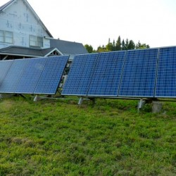 Solar array provides off-grid power to the farm.