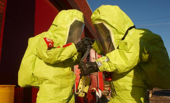 Members of the New York City Fire Department Hazardous Materials Response Team participate in hazardous material training Oct. 17, 2002, in New York City.