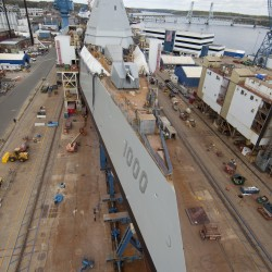 Bath Iron Works launches $4 billion stealth destroyer into Kennebec River