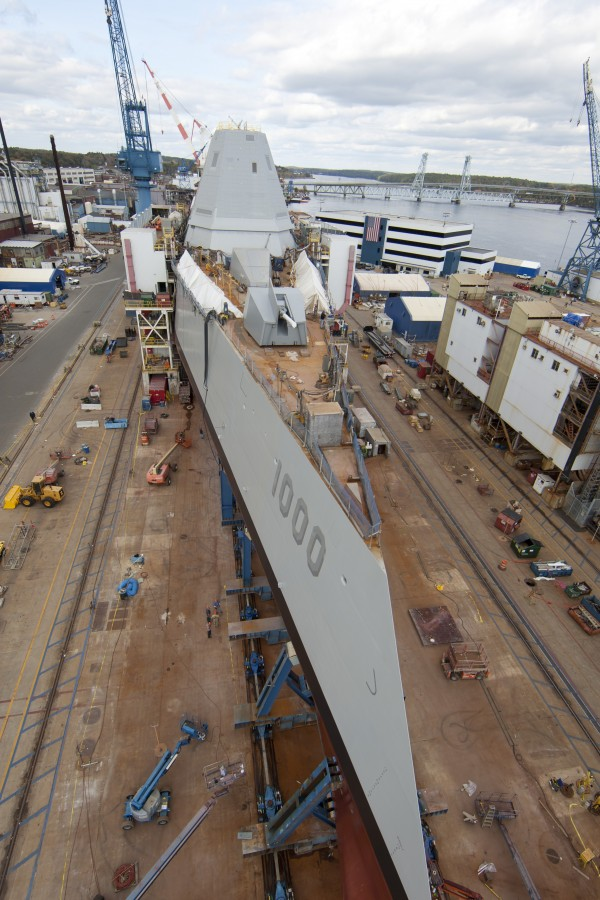 Final preparations are underway at Bath Iron Works to launch the future USS Zumwalt into the Kennebec River.