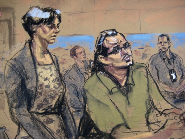 Marcos Alonso Zea, right, 25, is shown in this court artist's sketch along with defense attorney Sally Butler during his arraignment in U.S. District Court in Central Islip, N.Y., Oct. 18, 2013.