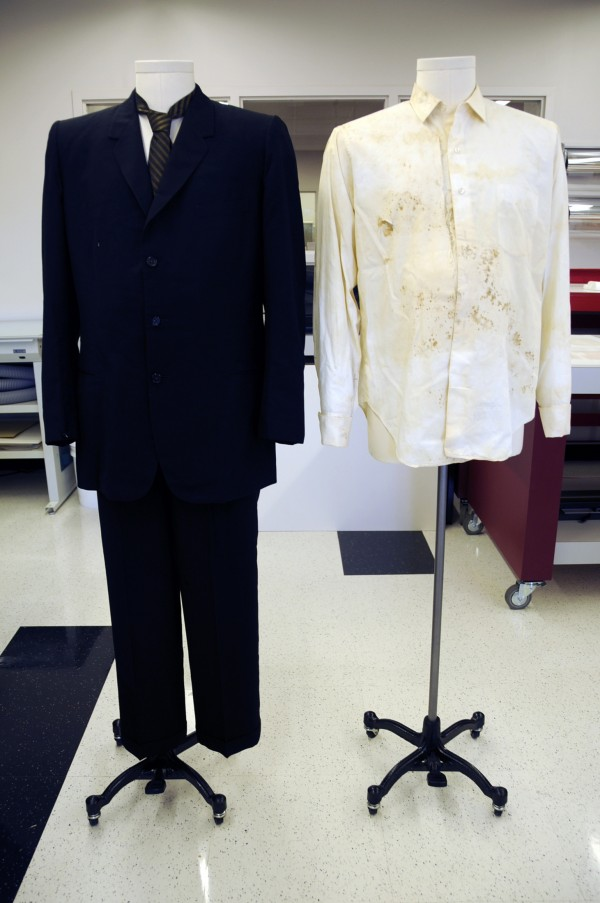 The suit worn by Governor John Connally, November 22, 1963 in Dallas, Texas is shown in this handout photo provided on October 15, 2013 courtesy of the Texas State Library and Archives Commission prior to exhibition. The Texas State Archives will display the bullet-riddled clothes worn by former Texas Governor John Connally on the day he was wounded and President John F. Kennedy was assassinated 50 years ago in Dallas.