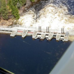 An aerial view of Telos Dam.