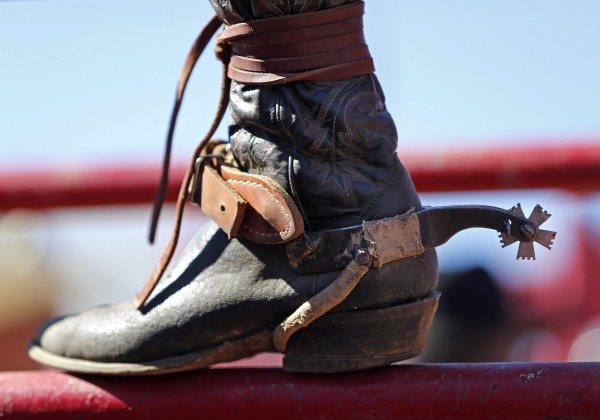 A contestant's well-worn boot and spur attest to the ruggedness of rodeo competition at the Cumberland County Fair, Saturday, Sept 28, 2013.