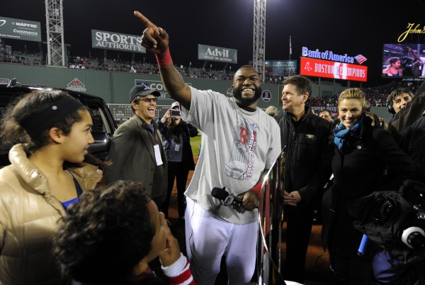 Boston Red Sox designated hitter David Ortiz gestures to the crowd after being named World Series MVP after game six of the MLB baseball World Series against the St. Louis Cardinals at Fenway Park. The Red Sox won 6-1 to win the series four games to two.