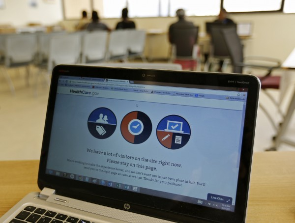 A busy screen is shown on the laptop of a Certified Application Counselor as he attempted to enroll an interested person for Affordable Care Act insurance, known as Obamacare, at the Borinquen Medical Center in Miami, Florida October 2, 2013.