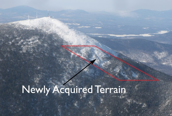 This illustration displays a seven-acre patch of challenging terrain that Sugarloaf ski resort will open to skiers and snowboarders for ski season 2013-14, thanks to a land deal with Plum Creek Timber. This section was previously outside the ski area boundary.