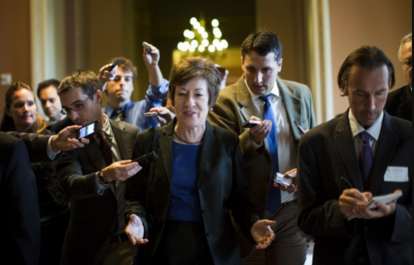 On the 12th day of the government shutdown, Sen. Susan Collins (R-Maine) and other Republican senators leave a closed-door meeting with Senate Minority Leader Mitch McConnell (R-Ky.) on Capitol Hill in an attempt to find solutions to avoid a possible debt default and to end the shutdown.