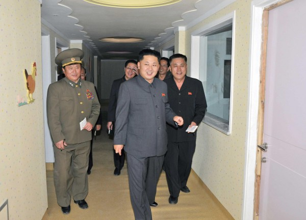 North Korean leader Kim Jong-Un visits the construction site of the Children's Hospital, which is near completion, in this undated photo released by North Korea's Korean Central News Agency (KCNA) in Pyongyang on October 6, 2013.