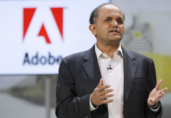 Adobe CEO Shantanu Narayen speaks at the Samsung keynote address on the opening day of the Consumer Electronics Show in Las Vegas in this January 6, 2011 file photo.