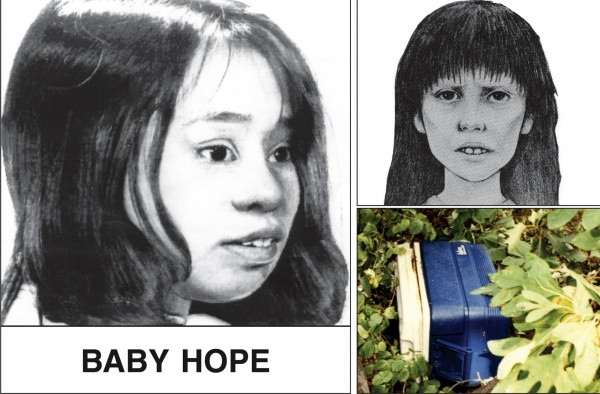 Artist renderings of 4-year-old Anjelica Castillo, dubbed &quotBaby Hope,&quot whose body was found in a picnic cooler (bottom right) along Henry Hudson Highway in northern Manhattan in July 1991, are seen in this image from a poster issued by the New York City Police Department when the crime occurred.