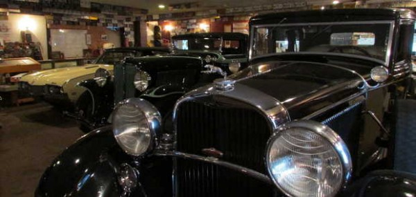 Three of Jack Greenleaf's treasured vintage cars sitting in his Oxford garage.