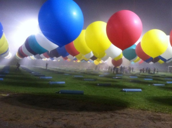 Some of the hundreds of cluster balloons that are carrying balloonist Jonathan Trappe from Caribou to Europe await for liftoff in the early morning hours on Thursday. &quotWe were told they looked just like a 'Dr. Seuss lolly-pop forest,'&quot inflation volunteer Kyle Washington of Presque Isle said.