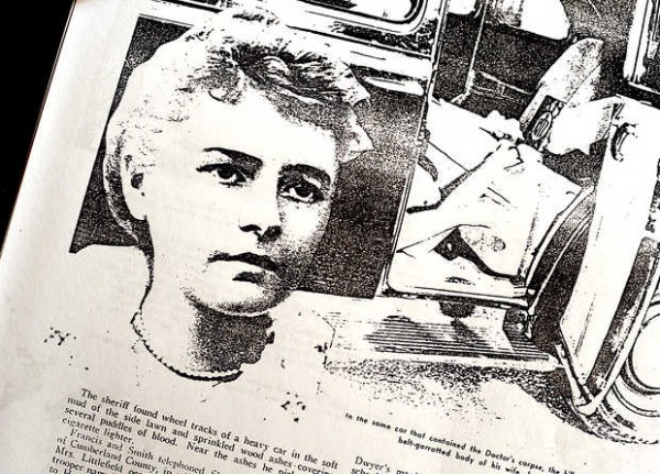 Newspaper clipping of Lydia Littlefield next to a picture of her body in the car.