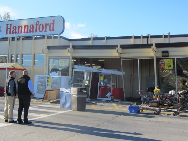 Police were investigating Tuesday morning a burglary at the Hannaford store in Waldoboro in which the perpetrator drove a vehicle into the building in an attempt to steal the automated teller machine.