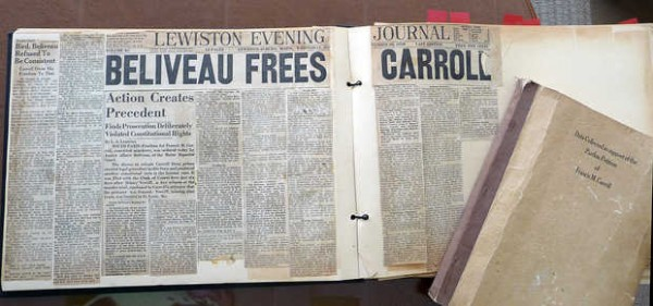 Clippings from a scrapbook kept by then-Judge Albert J. Beliveau Sr. The Sept. 20, 1950, headline from the Lewiston Evening Journal reads, &quotBeliveau frees Carroll.&quot It was big news when Beliveau released accused murderer Francis Carroll from prison on a writ of habeas corpus. Carroll had been convicted of killing Dr. James Littlefield on Paris Hill.
