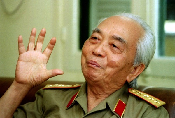 Vietnamese Gen. Vo Nguyen Giap gestures during an interview in Hanoi in this April 22, 1995, file photograph. Giap, architect of Vietnam's military victories over France and the United States, died on Oct. 4, 2013, of natural causes, family members and a hospital source said. He was 102.