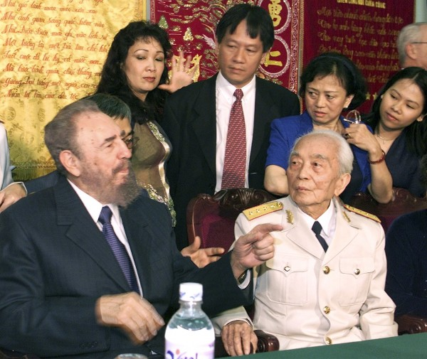 Cuban President Fidel Castro (left) visits Vietnamese Gen. Vo Nguyen Giap (right) at the house of the revered Vietnamese military figure in Hanoi on Feb. 22, 2003. Giap, architect of Vietnam's military victories over France and the United States, died on Oct. 4, 2013, of natural causes, family members and a hospital source said. He was 102.
