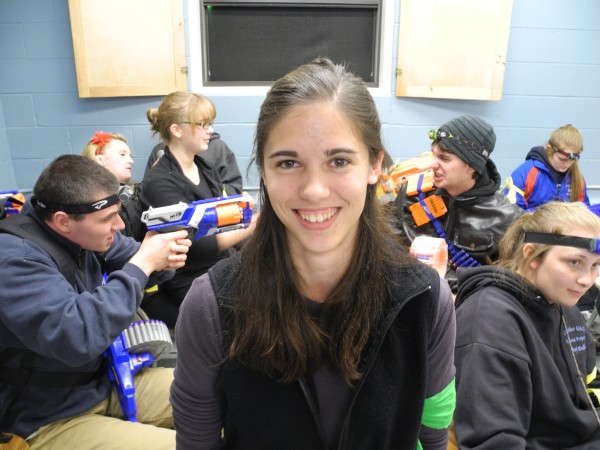 Wildlife biology student Kari Lemelin, who is running Unity College's Humans vs. Zombies game this fall, with some of her human warriors.