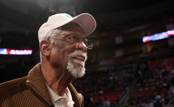 Boston Celtics former center Bill Russell in attendance during the 2013 NBA all star shooting stars competition at the Toyota Center in this February 2013 file photo. He was cited Wednesday for having a loaded gun in his carry-on baggage at a Seattle airport.