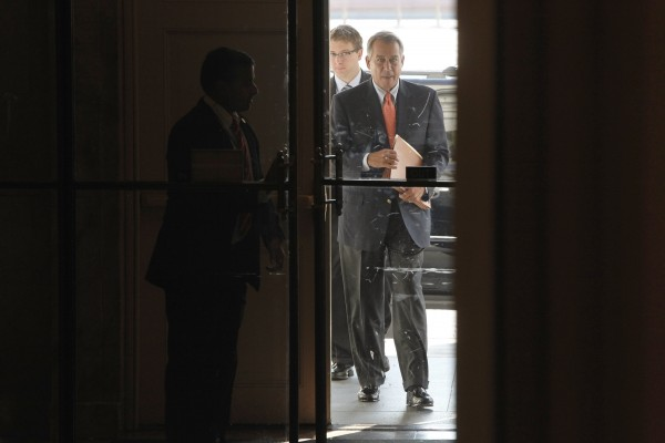U.S. House Speaker John Boehner (R-OH) arrives at the U.S. Capitol in Washington, on Saturday.
