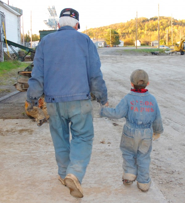Raoul Caron walks back to the potato shed with great-grandson Ethan during this year's harvest. Ethan is a common sight during the harvest, often wearing the same coveralls worn decades ago by his father Kris Malmborg and made by his great-grandmother Lou Caron.