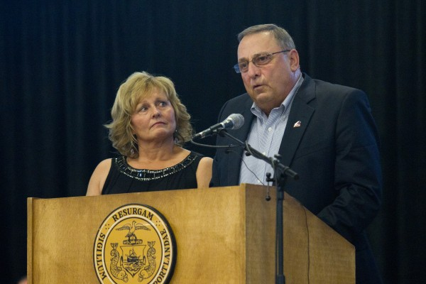 Gov. Paul LePage and his wife Ann address members of the 133rd Engineer Battalion during a Heroes' Send-Off ceremony in Portland in this August 2013 file photo.