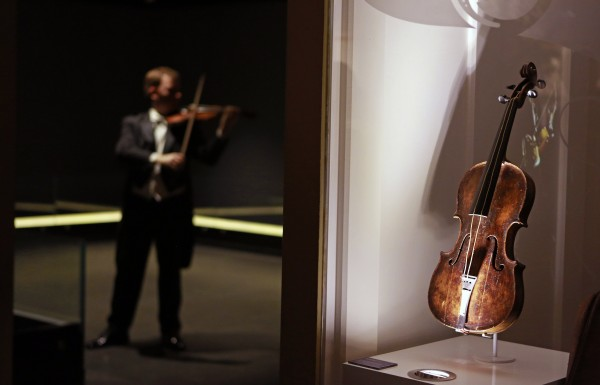 The violin that belonged to Titanic bandmaster Wallace Hartley is seen on display at the Titanic Centre in Belfast in this September 18, 2013 file photograph.