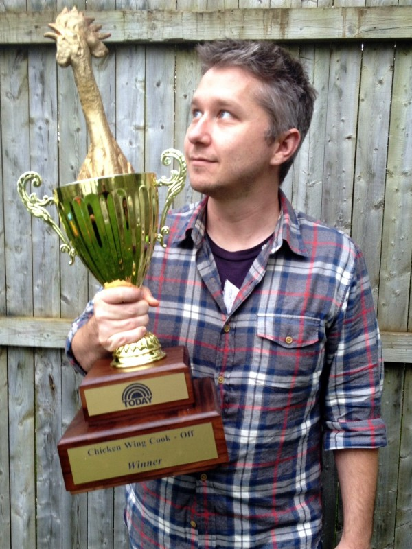 Food blogger Malcolm Bedell with his &quotToday&quot show trophy. His Apricot-shellacked Ghost Chili Chicken Wings won over judges, and you can make them, too.