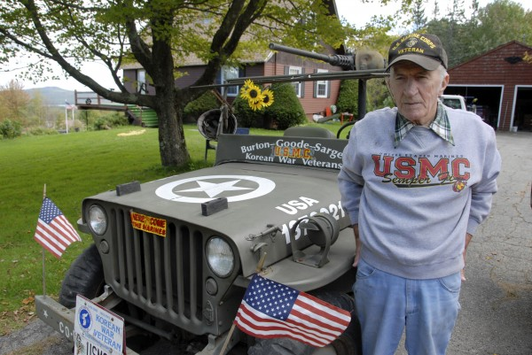 Philip Eckert, who lives atop Kings Mountain in Orrington, stands beside a 1945 MB Jeep that he has styled as a Jeep that Marines would have used during the Korean War. He enlisted in the Marine Corps in June 1953 and went to basic training with other members of the Pine Tree Platoon.