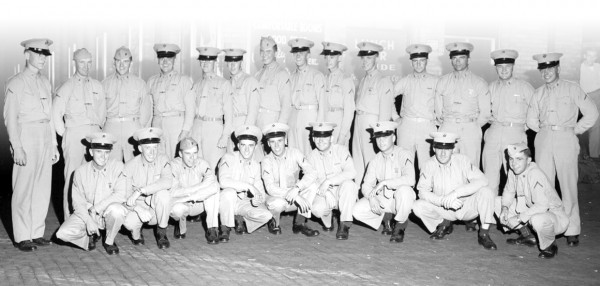 Members of Maine's Pine Tree Platoon of the U.S. Marine Corps are shown after arriving at Union Station in Bangor on Sunday evening, Sept. 6, 1953. Members of the group are on leave after completion of 11 weeks of basic training at Parris Island, S.C. First row (left to right) are Pfc. Rodney W. Hoyt, Bucksport; Charles W. Moner, Bangor; Donald E. Southard, Howland; Philip B. Eckert, Bangor; Austin M. Richards, East Millinocket; Wayne K. Cleveland, Stonington; Richard W. Banker, Brownville Junction; Evan Plourde, St. Agatha; and Donald E. Deveau, Orono. Back row (left to right) are Clair F. Bemis, Levant; Donald L. Hanson, Bangor; John Pelletier, Orono; William McLean, Millinocket; Robert Connor, Bangor; Gene Abbott, Old Town; Lin Hachey, Orono, Clyde H. Folson Jr., Millinocket; Thomas V. Tweedie, Brownville Junction; Berwin W. Storer, Monson; Sherman R. Perry, Bangor; Donald F. Gero, Old Town; Milton B. Dysart, Bangor; and Raynald N. Gendreau, Fort Kent.