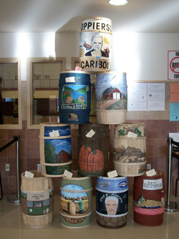Bidding is open until Nov. 22 on 10 potato barrels designed and painted by local artists for O.P. Pierson Days last month. On display at the Caribou Wellness Center, the barrels will be sold through a silent auction via the City of Caribou website (www.cariboumaine.org) and the Caribou Parks and Recreation Department (kathy@caribourec.org) 207-493-4224.