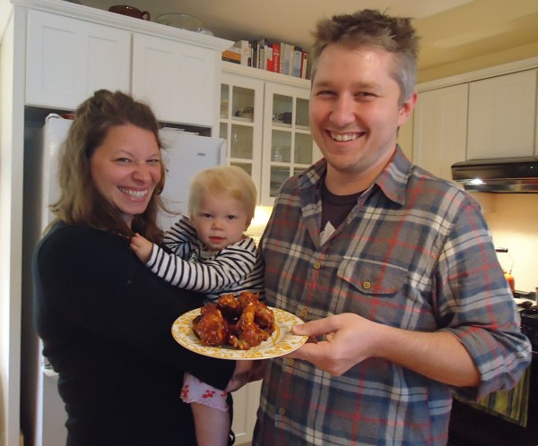 Dinner is served in the Bedell house. Food bloggers Jillian and Malcolm Bedell and their daughter Violet get ready for a gourmet game-day feast.