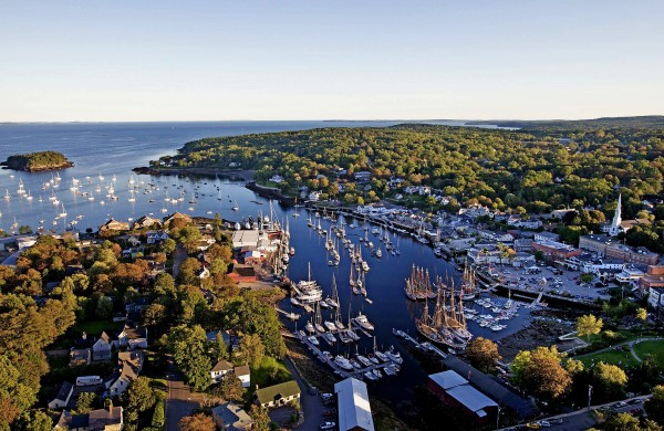 An aerial view of Camden Harbor, Maine.