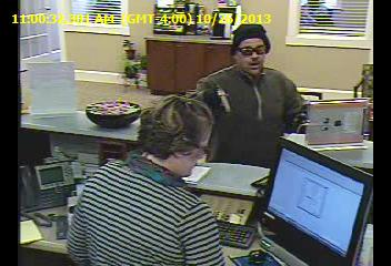 On Saturday, Oct. 26, a man described as being approximately 5 feet 8 inches tall, 200 pounds, and with a salt and pepper mustache robbed the Ocean Communities Federal Credit Union in Sanford.