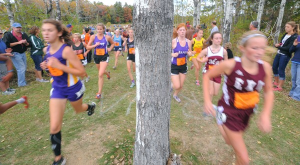 Runners negotiate the course during the girls' seeded race of the 2013 Festival of Champions cross country races in Belfast Saturday.