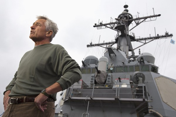 Secretary of Defense Chuck Hagel answers questions while speaking to sailors aboard the USS Stethem (DDG 63) destroyer on Friday. Hagel announced Saturday that the Pentagon will recall many of its civilian employees who were sent home during the government shutdown.