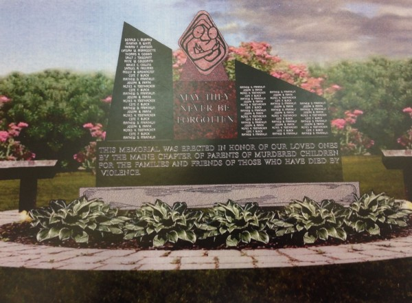 A rendering of the Maine Murder Victim's Memorial, for which ground was broken in September. On Oct. 2, when he proclaimed October as Domestic Violence Awareness Month, Gov. Paul LePage announced he would use $10,000 from his contingency fund to help complete the monument.