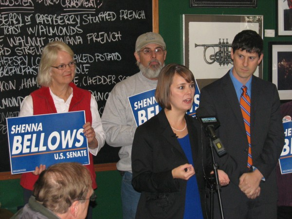 Shenna Bellows stands with her parents and husband at an Ellsworth restaurant on Wednesday as she makes her first appearance for her 2014 U.S. Senate campaign.