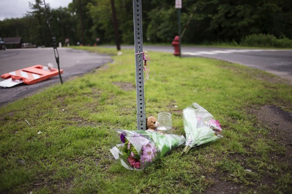 Flowers lay by the roadside leading to the entrance of the original site of Sandy Hook Elementary School during the six-month anniversary of the massacre in Newtown, Connecticut June 14, 2013. Six months after a gunman killed 26 children and adults at the elementary school, families and local officials marked the day by honoring the victims and renewing the fight for stricter gun control.