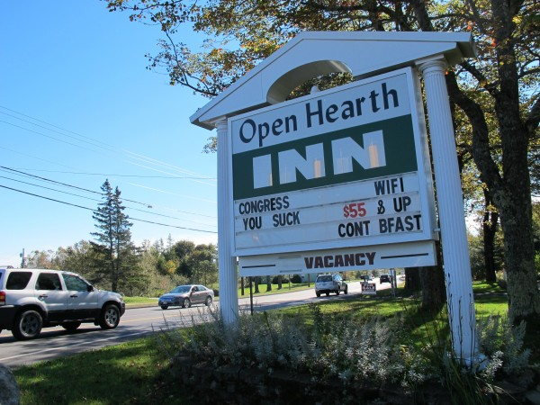 A sign outside an inn on Route 3 in Trenton conveys a message to Congress about the federal government shutdown and the resulting closure of Acadia National Park on Mount Desert Island. Area hotels and other lodging businesses have been losing customers because of the park's closure, according to business officials.