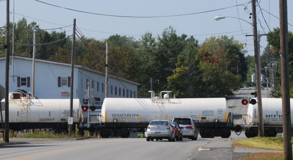 A train rolls along the tracks near downtown Milo last week.