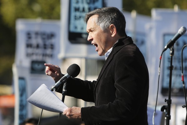 Former U.S. Rep. Dennis Kucinich, D-OH, addresses the &quotStop Watching Us: A Rally Against Mass Surveillance&quot near the U.S. Capitol in Washington, October 26, 2013.