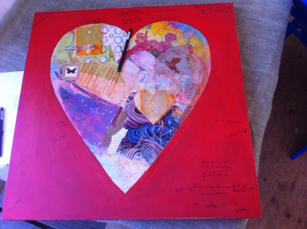 A painting of a heart carries words of sympathy and support to the Gold family, who lost their son Dylan in an accident in Port Clyde in August.